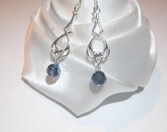 Earrings metallic Blue Crystal for life