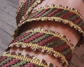 V56 plaited yellow green and Burgundy 22mm