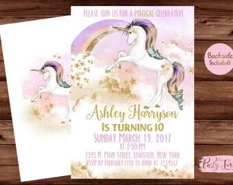 Rainbow Unicorn Invitation - Unicorn Invitation - Unicorn Invite - Unicorn Party Invitation- Unicorn Birthday Invitation - DIGITAL FILE