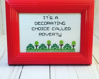 Truth In the Wallpaper Finished Framed Cross Stitch