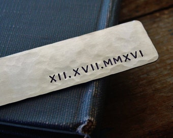Roman Numeral Bookmark, Hand Stamped,Metal Anniversary Gift,Personalized Bookmark,Wedding Date,Save the Date,Husband Wife Gift,Sobriety Gift