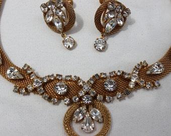 Vintage Strass Goldtone Halskette und Ohrringe klassischen formalen Collier und Ohrringe Hochzeit Schmuck Schmuck gesetzt schwarze Krawatte Schmuck
