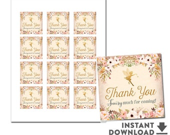 """Printable Fairy Thank You Square Tag 2x2"""" Enchanted Fairy Baby Shower Decorations Tags (INSTANT DOWNLOAD) No.986BABY"""