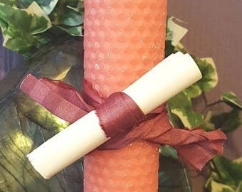 Hand Crafted FULL MOON Beeswax Pillar Spell & Ritual Candle with Spell ~ Pagan/Goddess/Wiccan/Altar/Lunar/Natural