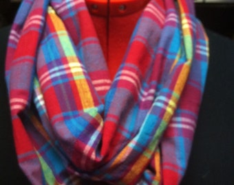 Red and Blue Cotton Madras Plaid Infinity Scarf