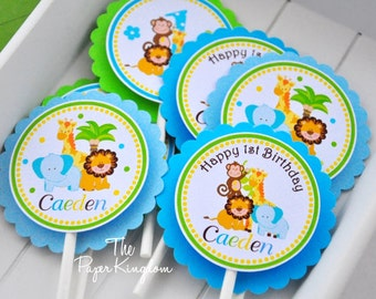 Safari Cupcake Toppers, Safari Birthday Party , Baby Safari Cupcake Toppers, Jungle Safari Baby Shower - Set of 12
