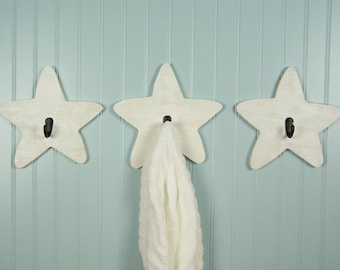 Star Hooks Wood Wall Hooks Decorative Wall Hooks for Kids Room Decor Bathroom Towel Hooks Wooden Stars Nursery Decor Wood Stars Decorations