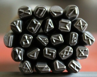 Viking Runes Metal 24 Piece Stamp Set - Viking Runes Stamps - Made In The USA- 5MM - Jewelry Making Stamping Tools- SGV-SET