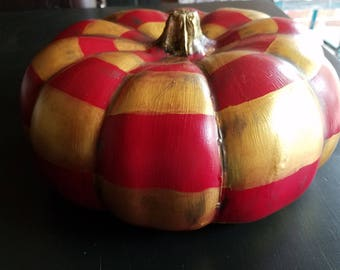 Red & Gold Checked Artificial Pumpkin. Hand painted.