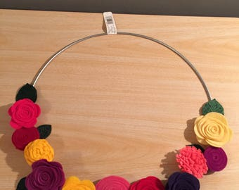 flowers // wreath // modern // hoop // felt // floral // silver // ring
