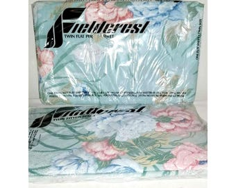 Vintage Fieldcrest Twin Size Sheets,Floral Sheets,Twin Flat Sheet,Twin Fitted Sheet,Fieldcrest,Percale,Shabby Chic,NEW OLD STOCK,Blue Floral