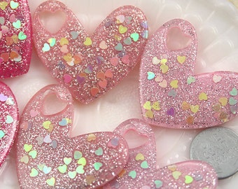 Heart Glitter Cabochons - 40mm Big Sparkly Heart Confetti Resin Kawaii Flatback Cabochons Charms or Pendants - 6 pc set