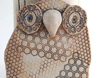 "Ceramic Owl Wall Hanging - Owl Wall Art - Ceramic Owl Wall Tile - Fine Art Ceramic Owl Home Decor -  Owl Home or Office Decor - ""Honey"""