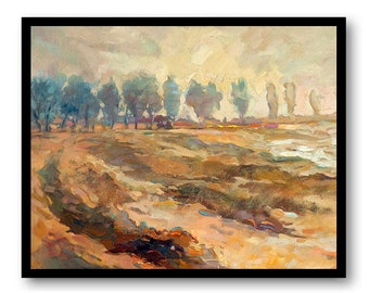Landscape Painting Fine Art Print Trees Watercolor Painting Blue Brown Beige Wall Decor Bedroom Bathroom Living Room Poster