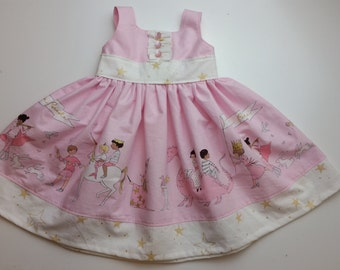 Toddler Girl Pink and Gold Party Dress Matilda Jane Persnickety Style Boutique Twirl Dress Whimsical Unicorn Dragons Sarah Jane Magic Parade