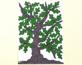 Oak Tree Illustration, ATC ACEO Trading Card, Oak Tree Original Art, Artist Trading Card, Oak Tree Drawing, Oak Tree Miniature Art Card