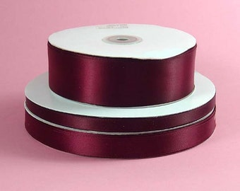 1/4 inch x 100 yds Single Face Satin Ribbon --WINE