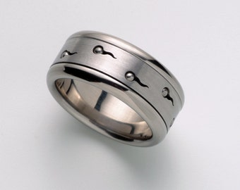 Unique Mens Wedding band, Mens Ring, Cool Man Ring Band, Sperms Spinner Ring, Stainless Steel Ring, Unique Men Jewelry Ring, Berman