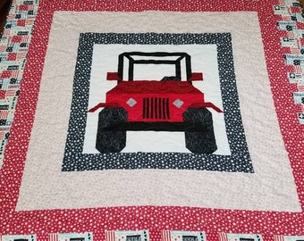 Jeep quilt, blanket, throw in red with patriotic borders