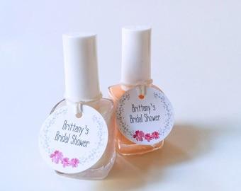 Mini nail polish tags - Custom party favor tags - Bridal Shower favor tags - Round Baby shower tags - Small polish tags (C-01)