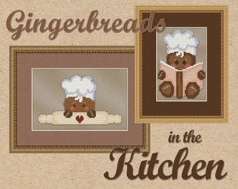 Counted Cross Stitch Pattern Gingerbread Baker & Chef Cute - 2 Whimsical Kitchen Designs Instant Download PdF - StitchX Best Seller