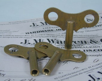 3 Large Solid Brass Clock Keys