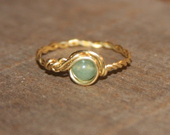 Light Green Ring, Aventurine Thin Ring, Nu Gold Ring, Green stone Ring, Green Wire Wrapped Ring, Wire Wrapped Jewelry, Gemstone Ring,