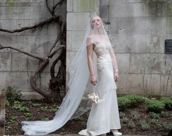 Off White Veil, Wedding Veil, Simple Veil, bridal veil, Ivory Veil, Ivory Wedding Veil, chapel veil, Soft Wedding Veil, elegant veil