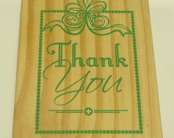 Thank You Wood Mounted Rubber Stamp By Greenbriar