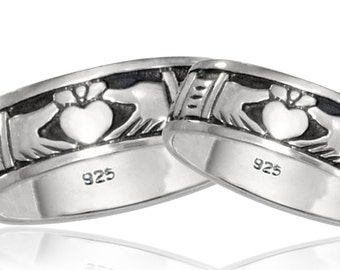 Sterling Silver Men's and Women's Claddagh Bands (R294)
