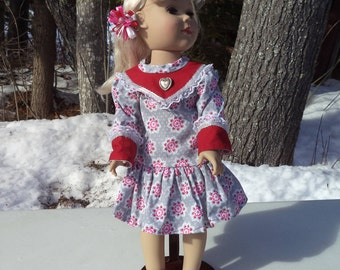 "18"" grey/red/pink doll dress, gray, pink, red dress, cotton long waisted doll dress with ribbons and lace, matching bracelet and barrett"