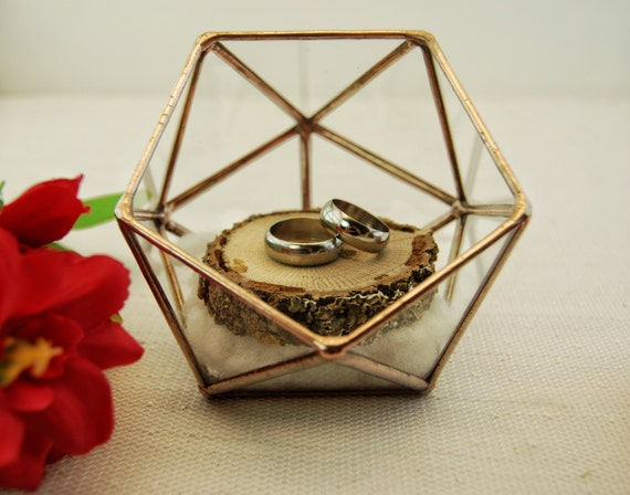 Wedding Ring Holder Ring Bearer Box Glass Ring Pillow Ring
