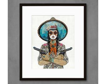 Rose and Thorn Día de los Muertos Cowgirl Print