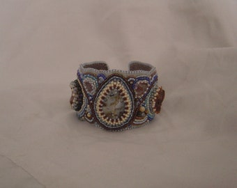 Jasper bead embroidery cuff