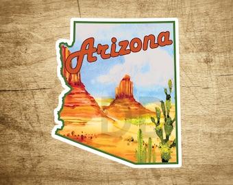 "Arizona Desert Mountains Butte Cactus Sticker Decal  3.5"" x 3"""