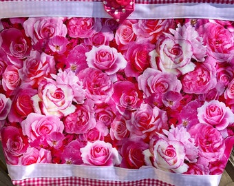 Hot Pink Fuschia Pink Roses Quilted Tote Bag Handmade Doodaba Handbag