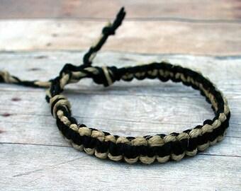 Surfer Macrame Hemp Bracelet Black and Natural, Natural Woven Knot Friendship Bracelets
