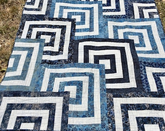 "Blue and White Batik Quilt 60"" x 72""- Batik Bed Quilt - Geometric Bed Quilt - Square Quilt - Bed Quilt"