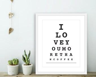I Love You More Than Coffee -  Eye Chart Wall Art - Eye Chart Print  - Love Wall Art - Love Eye Chart - Bedroom Wall Art