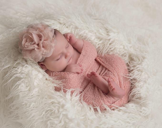 "Featured listing image: Blush Knit Wrap AND/OR Matching Blush Chiffon and 4"" Lace Flower Headband, photo shoots, newborn swaddle wrap, bebe foto, Lil Miss Sweet Pea"