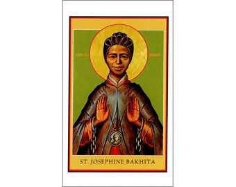 5 St Josephine Bakhita Icon Holy Cards - Patron Saint of Victims and Survivors of Human Trafficking - African Saint - African Amerian