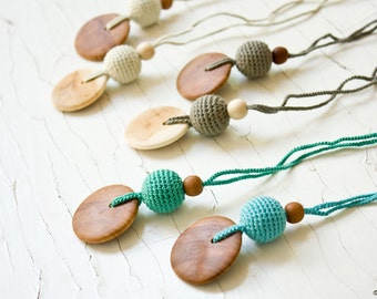 Pure Silk & Wood Teething Necklace | Nursing Necklace | Breastfeeding | Chewing Necklace | New Mom Gift | NP11-NP14