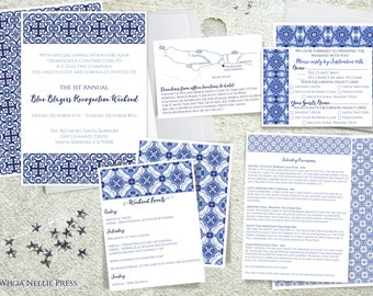 Mediterranean/Italian/Portuguese Tile Wedding Invitations--Blue and White Porcelain--Santorini, Greece
