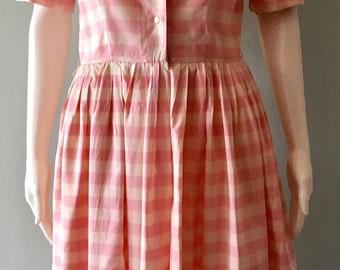 Vintage 1950s L'Aiglon Pink and White Silk Day Dress