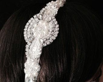 Bridal Headband- Rhinestone and Pearl Bridal Headband- Bridal Headpiece- Rhinestone Bridal Headband