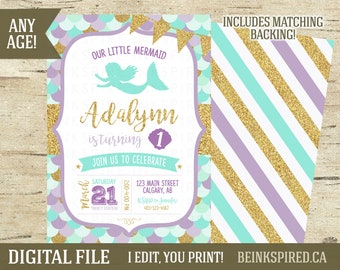 Mermaid Birthday Invitation, Mermaid Invitation, Mermaid Birthday, Under the Sea, Any Age, Purple Teal Gold, Glitter, ADA, DIGITAL FILE