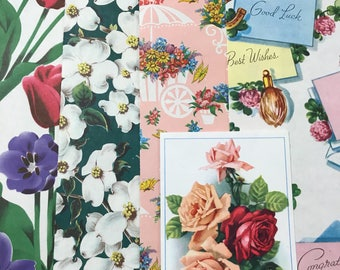 Pretty Floral Vintage Norcross Wrapping Paper and French Notecard