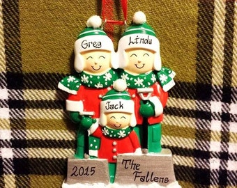 Personalized Christmas Ornament Family of 3 Shoveling Snow - Family Christmas Ornament