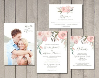 Blush Floral Wedding Invitation, Response, Details Card (Printable) by Vintage Sweet