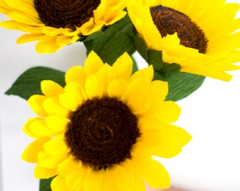 3 Large paper flowers-Sunflowers